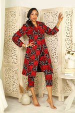 Red and Black African jacket for women with matching pant. Red African blazer for women.