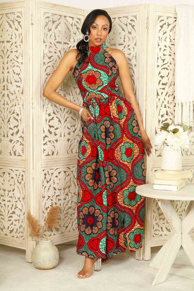 Red African dress. African maxi dress. Green and Red African long dress for women. African print long dresses