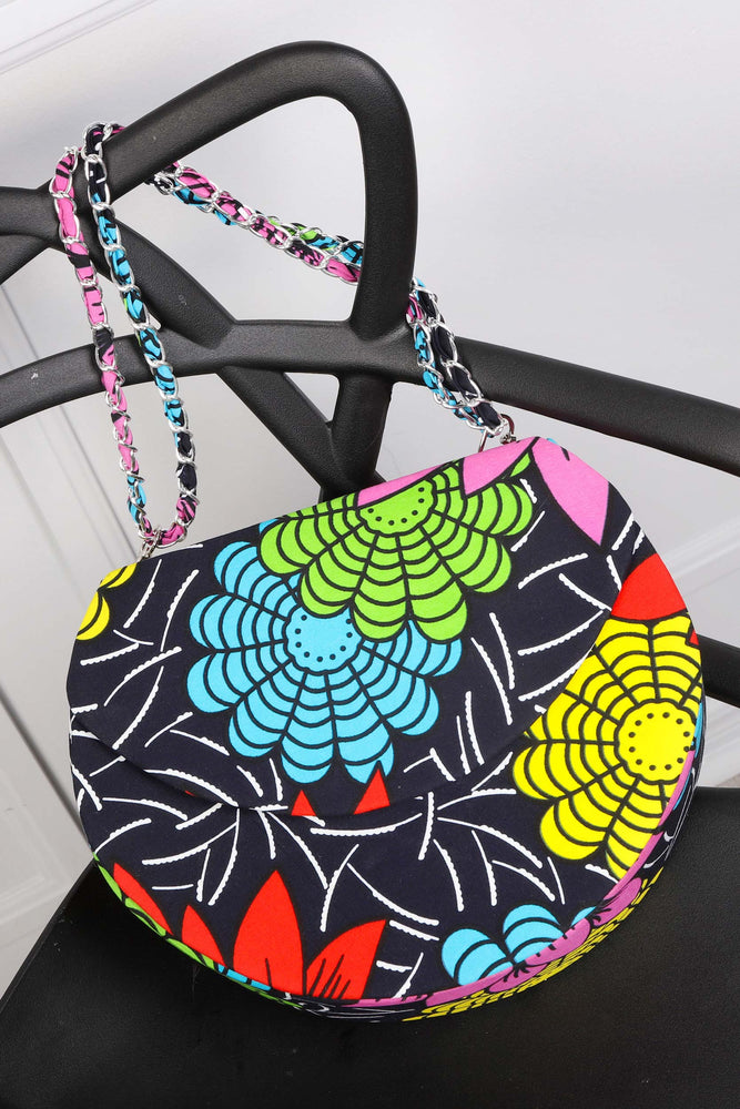 African print round handbag for women