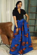 Blue african long skirt. African maxi skirt. African skirt for plus size. Plus size african maxi skirt. African print long skirt for plus size women. Blue african long skirt.