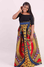 Orange floral skirt. African long skirt. African maxi skirt with pocket. African skirts for women. African print skirts for ladies. Plus size African skirts.