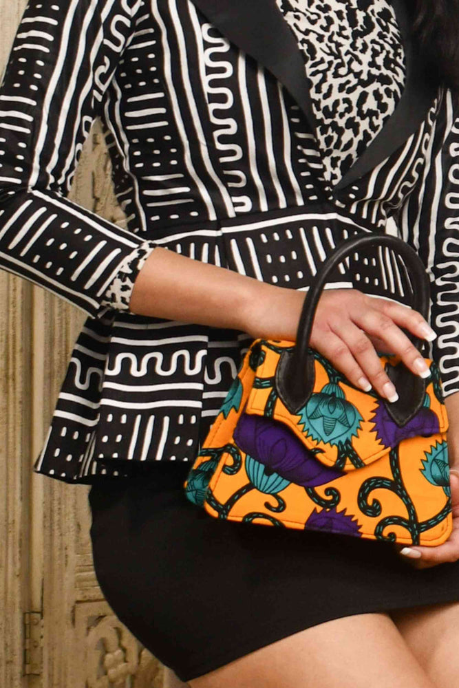 Load image into Gallery viewer, African handbag. African mini bag. African print bag. Yellow mini bag. Yellow handbag for women. Floral mini bag for women