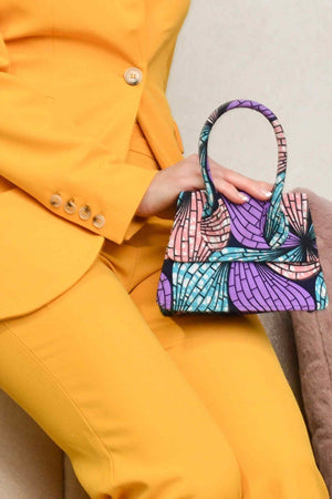 Load image into Gallery viewer, purple bag. Purple mini bag. floral mini bag. african print mini bag. luxury bag. african handbag for women. birthday gift idea.
