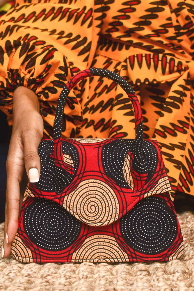 Red mini bag. African mini bags. African handbag. Fashion bag. African purse. Red purse. Colorful purse for women.