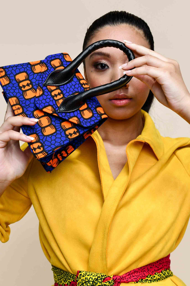blue and orange bag. African print bags. African handbag for ladies. fashion bags. luxury bags for women
