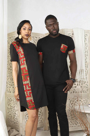 black couple. COuple with matching outfit. African dresses for women. African shirt for men. African shirt for men