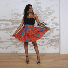Load image into Gallery viewer, ADELINE ANKARA PEPLUM MINI SKIRT IN ORANGE - KEJEO DESIGNS