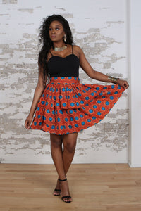 ADELINE ANKARA PEPLUM MINI SKIRT IN ORANGE - KEJEO DESIGNS