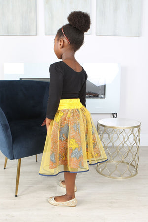 Load image into Gallery viewer, AKANI AFRICAN PRINT GIRLS' FLARED TULLE SKIRT - KEJEO DESIGNS