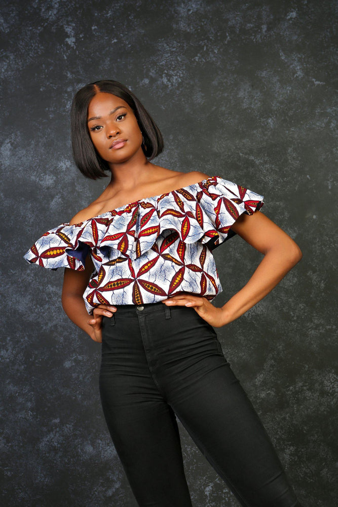 Load image into Gallery viewer, ALTEA African Print Crop Top. Summer tops for women. Women top with ruffles. African top for summer.