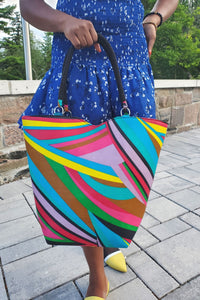 AMUA African Print Bag (With Beaded Handles) - KEJEO DESIGNS