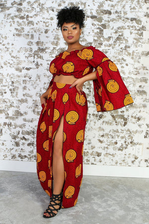 Load image into Gallery viewer, AZIZA African Print Maxi Skirt TOP KEJEO