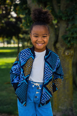 Load image into Gallery viewer, BAKARI AFRICAN PRINT UNISEX KIDS' BOMBER JACKET - KEJEO DESIGNS