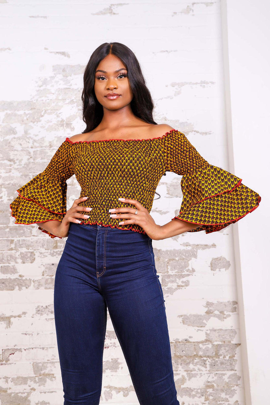 BENITA AFRICAN PRINT WOMEN'S STRETCH CROP TOP - KEJEO DESIGNS