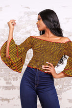 Load image into Gallery viewer, BENITA AFRICAN PRINT WOMEN'S STRETCH CROP TOP - KEJEO DESIGNS