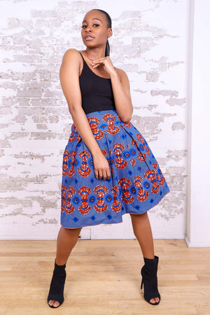 Load image into Gallery viewer, BLUE RONELA AFRICAN PRINT WOMEN'S MINI SKIRT - KEJEO DESIGNS