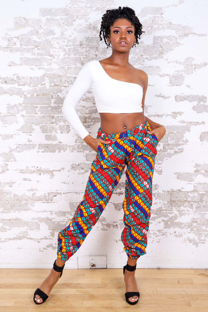Load image into Gallery viewer, CANAH AFRICAN PRINT WOMEN'S CARGO PANT - KEJEO DESIGNS