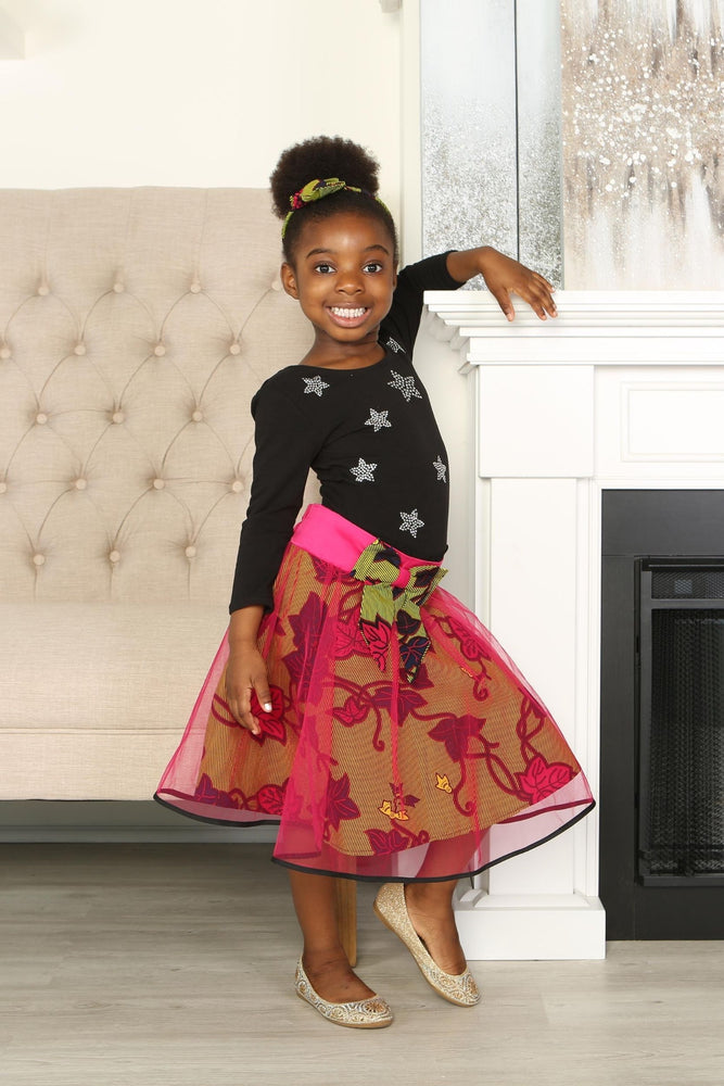 CHIMENE AFRICAN PRINT GIRLS' FLARED TULLE SKIRT - KEJEO DESIGNS