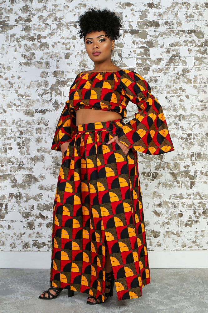 Load image into Gallery viewer, CHIZA African Print Maxi Skirt TOP KEJEO