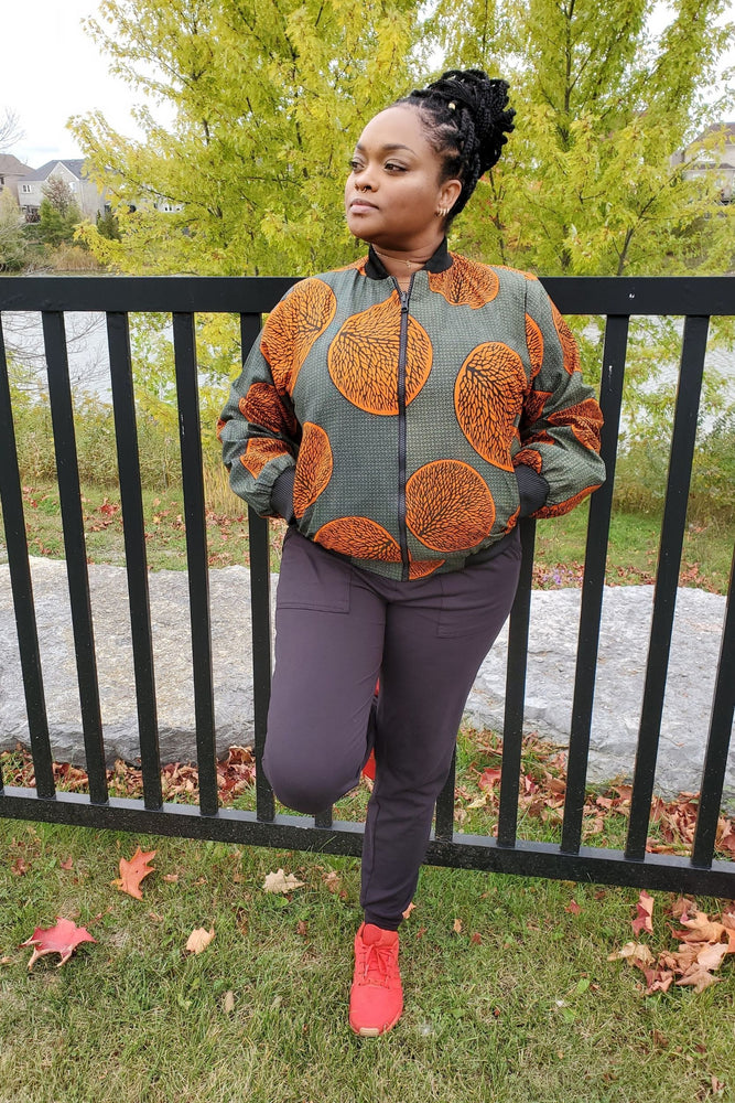 Load image into Gallery viewer, DENU-JIMBEY African Print Reversible Women's Bomber Jacket - KEJEO DESIGNS