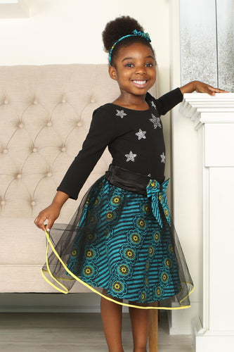DIDI AFRICAN PRINT GIRLS' FLARED TULLE SKIRT - KEJEO DESIGNS