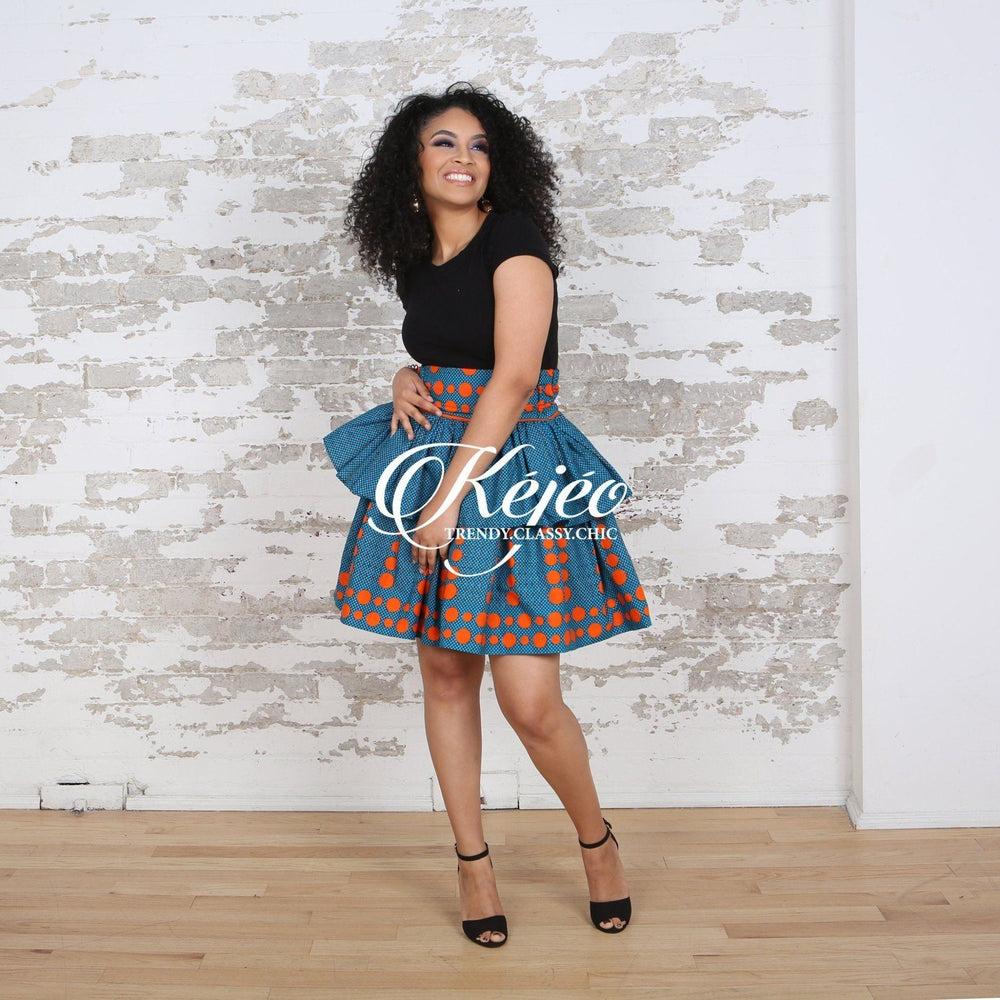Load image into Gallery viewer, ELORA African Print Peplum Mini skirt SKIRT KEJEO