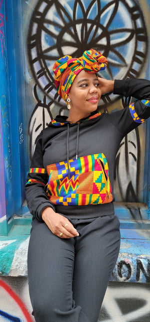 Load image into Gallery viewer, ENOWA AFRICAN PRINT UNISEX ADULTS' HOODIE SWEATSHIRT - KEJEO DESIGNS