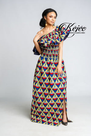 Load image into Gallery viewer, ESSE African Print Dress DRESS KEJEO