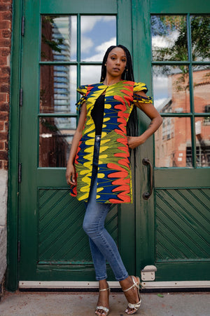 Load image into Gallery viewer, ESSUM AFRICAN PRINT WOMEN'S JACKET - KEJEO DESIGNS