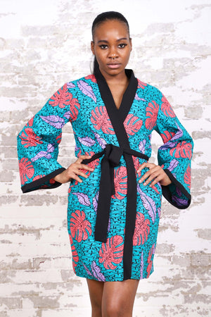 EYON AFRICAN PRINT KIMONO WOMEN'S DRESS/TOP - KEJEO DESIGNS
