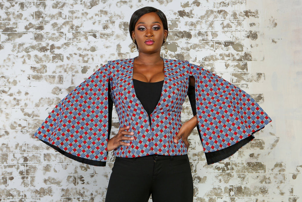 Load image into Gallery viewer, FARIA African Print Cape Blazer VEST KEJEO