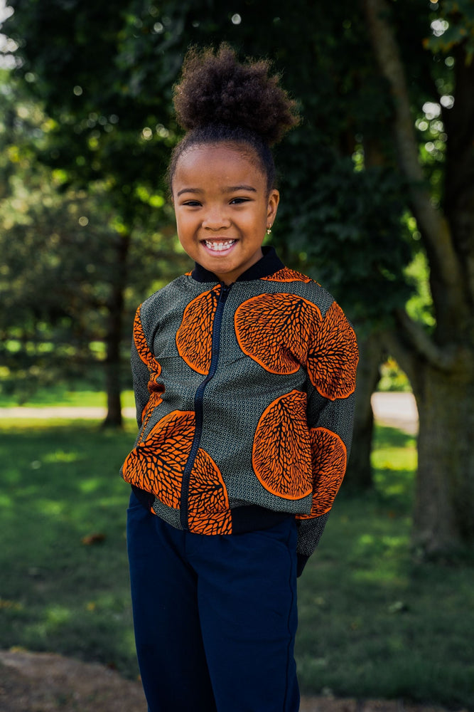Load image into Gallery viewer, JIMBEY AFRICAN PRINT UNISEX KIDS' BOMBER JACKET - KEJEO DESIGNS
