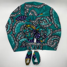 Load image into Gallery viewer, KARIA African Print Bonnet I Set (Flower Knot) (Turquoise) - KEJEO DESIGNS