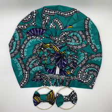 Load image into Gallery viewer, KARIA African Print Bonnet I Set (Flower Knot) (Turquoise) with round earrings - KEJEO DESIGNS