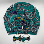 KARIA African Print Bonnet I Set (Flower Knot) (Turquoise)