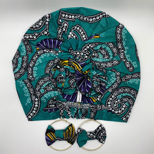 KARIA African Print Bonnet I Set (Flower Knot) (Turquoise) with round earrings - KEJEO DESIGNS