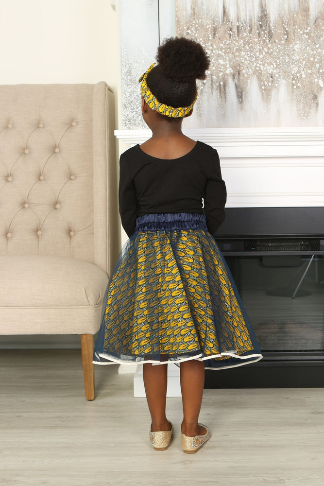 KEJI AFRICAN PRINT GIRLS' FLARED TULLE SKIRT - KEJEO DESIGNS