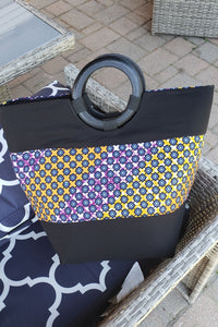 LOUMA AFRICAN PRINT BAG (BLUE NAVY/ORANGE/PURPLE) - KEJEO DESIGNS