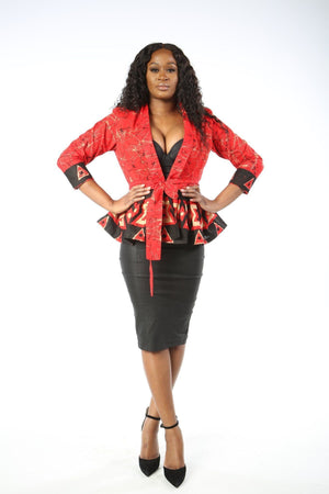 Load image into Gallery viewer, MARIA African Print Peplum Blazer jacket KEJEO