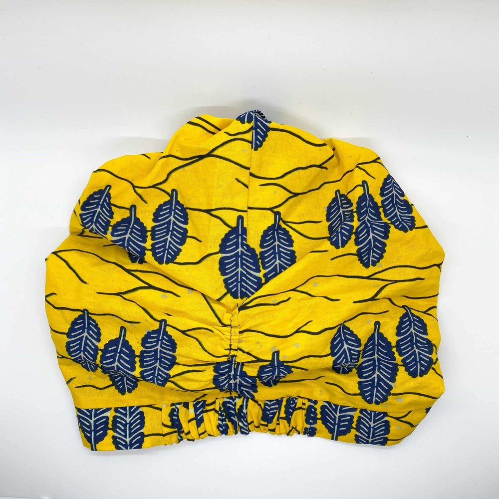 MINA African Print Bonnet Set (ball Knot) (Yellow and Navy Blue) - KEJEO DESIGNS