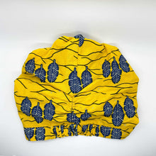 Load image into Gallery viewer, MINA African Print Bonnet Set (ball Knot) (Yellow and Navy Blue) - KEJEO DESIGNS