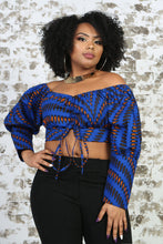 Load image into Gallery viewer, BLUE ANKARA PRINT CROP TOP PAIRED WITH A BLACK PANT - KEJEO DESIGNS