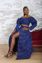 Load image into Gallery viewer, NABILA II African Print blue Crop Top TOP KEJEO DESIGNS