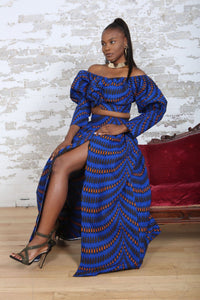 African Print Maxi Skirt and African Print Blue Crop top Long Sleeve-KEJEO DESIGNS