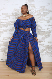 NABILA II Aakara Print blue Crop Top and blue maxi skirt KEJEO DESIGNS
