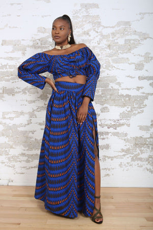 ANKARA LONG SKIRT IN BLUE KEJEO DESIGNS