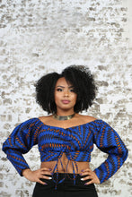 Load image into Gallery viewer, African Print Off the Shoulder Crop top in Blue with Long Sleeves- KEJEO DESIGNS