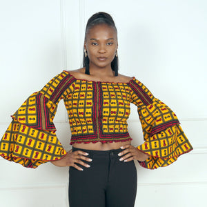 Load image into Gallery viewer, NAYA African Print Crop Top TOP KEJEO