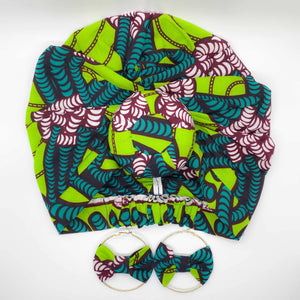NITA African Print Bonnet II Set (Ball Knot) (GREEN) - KEJEO DESIGNS