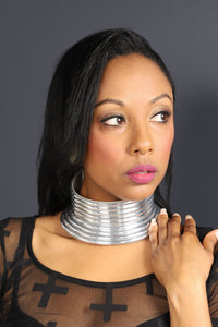 RASHA African Choker Necklace (Round and Silver) - KEJEO DESIGNS